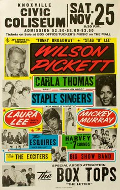 poster featuring Wilson Pickett, Carla Thomas among others