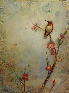 ©2016 Lori McNee, Spring Moment, 12x9 encaustic on panel