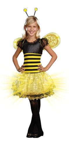 This busy bee flashes like a firefly! Girls Light-Up Busy Lil Bee Costume features a layered tulle skirt with built-in fiber optic lights that switch on and off via a hidden switch. Dress Up Costumes, Girl Costumes, Cosplay Costumes, Costume Ideas, Top Halloween Costumes, Halloween Party, Sofia Costume, Discount Party Supplies, Party Stores