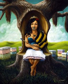 Painting of woman surrounded by bee hives by Liam Barr Example Of News, New Zealand Art, Nz Art, Little River, Maori Art, Queen Bees, Figure Painting, Contemporary Art, History