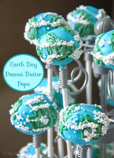 Make the cute and fun Earth Day Peanut Butter Pops for a special treat on Earth Day - My Little Me