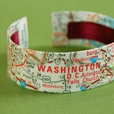 Washington DC Map Jewelry Cuff Bracelet  by VictoriaCampDesigns charm bases, blanks: http://www.ecrafty.com/c-6-photo-jewelry.aspx