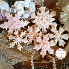 Snowflake cookies, Christmas cookies, gingerbread cookies, keepsake cookie gift, decorated cookies, shabby chic cookies, pink