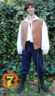 This is for a complete Men's Renaissance Peasant Outfit. It will include a 100% cotton shirt, a faux leather reversible jerkin, a 100% cotton pants, a linen flat hat, and a pouch (Boots and belt not included).