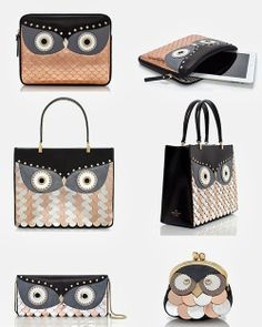 {From the top: Kate Spade wise owl iPad sleeve, Kate Spade wise owl quinn, Kate Spade wise owl clutch, Kate Spade owl coin purse. Cute Handbags, Kate Spade Handbags, Kate Spade Purse, Owl Clothes, Kate Spade Outlet, Owl Purse, Owl Bags, Owl Quilts, Owl Charms