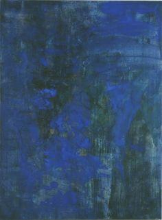 "Gallery: Splendor -  Splendor - Blue Veil -  Collection of Howard and Roberta Ahmanson  Mineral Pigments on Kumohada  66x89"""