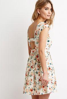 7b046177d4f Cutout-Back Floral Print Dress
