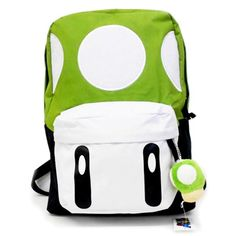 Super Mario Nintendo New Green Mushroom School Backpack with small mushroom plush keychain,  Adjustable Straps Padded Shoulder Strap make it comfortable to wear, Adjustable Straps, 2 Main Compartments, Zip Closure.  Size 31cm(W)x42cm(H)x12cm(D)
