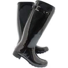 Hunter Women's ORIGINAL TOUR GLOSS black rain boots ($165) ❤ liked on Polyvore featuring shoes, boots, black polishable shoes, shiny black shoes, rain boots, shiny boots and polish shoes