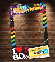Having an Themed Party? The Theme Photo Booth will be a hit at your party! Just buy this high-quality digital file, have it printed to your nearest print shop and get it mounted! Want us to print, mount and ship the photo booth to you? Photo Booth Party Props, Photo Booth Frame, Photo Booths, 80s Birthday Parties, Birthday Party Themes, 40th Birthday, Diy Birthday Party Photo Booth, 80s Party Themes, Birthday Ideas