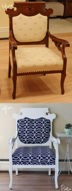 Before and after Chalky Finish paint chair @Alexandria Thompson.com [Jordan Reilly] #chalkyfinish