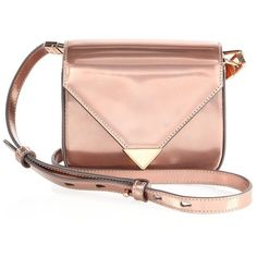 Alexander Wang Prisma Metallic Leather Envelope Crossbody Bag (3276490 PYG) ❤ liked on Polyvore featuring bags, handbags, shoulder bags, apparel & accessories, rose gold, alexander wang crossbody, leather cross body handbags, cross-body handbag, genuine leather purse and leather purses