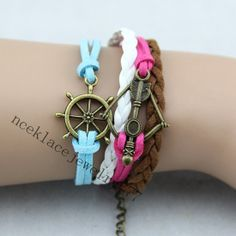 Rudder Bracelet with Bow and Arrow Braided by necklacejewelry777, $7.90
