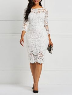 Product Name:African Fashion Three-Quarter Sleeve Sexy Floral Women's Lace Dress Category:Women/Women's Clothing/Women Dresses/Lace Dresses Material:L Lace Dress Styles, African Lace Dresses, Latest African Fashion Dresses, Women's Fashion Dresses, Nigerian Lace Dress, Lace Dress With Sleeves, Floral Lace Dress, The Dress, Lace Dress White
