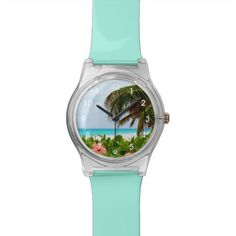 Tropical Ocean Beach Wrist Watch.  Perfect for beach lovers or anyone who loves coastal, seaside, tropical or exotic scenery.  Photo design has a white sand beach with palm tree branches and hibiscus flowers.