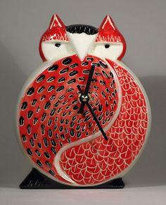 Art Deco Ceramic Owl Wall Clock