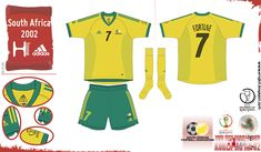 South Africa home kit for the 2002 World Cup Finals. 2002 World Cup, Football Fashion, World Cup Final, Team Shirts, Atari Logo, South Africa, African, Japan, Adidas