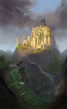 The Golden City - Illustration Thomas Brissot Reminds me of samirs main place Fantasy City, Fantasy Castle, Fantasy Places, Medieval Fantasy, Sci Fi Fantasy, Fantasy World, Fantasy Dragon, Fantasy Concept Art, Fantasy Artwork