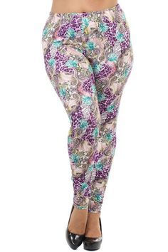 Purple Leopard Floral Design Plus Size Leggings – Niobe Clothing