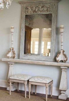 Awesome diy french country decor are offered on our site. Check it out and you wont be sorry you did. French Decor, French Country Decorating, Flur Design, Trumeau Mirror, Modern French Country, French Style, Country Style, Foyer Decorating, Decorating Ideas