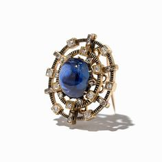 Fabergé brooch, St Petersburg, circa 1905, with diamonds and a large cabochon sapphire