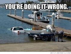 That's one way to put the boat in! #fishinghumor