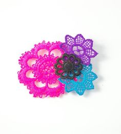 Neon vintage lace brooch pink and purple