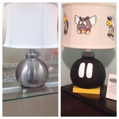 Bob-omb lamp before and after for Super Mario Bros. nursery