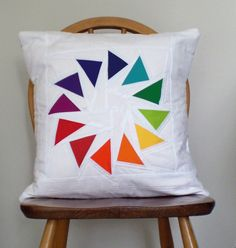 "Quilted Patchwork Cushion Cover (18"") - Flying Geese"