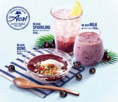 Burger King Japan | new BK Acai menu The BK Acai Bowl features a serving of soft serve topped with acai mix and a blend of granola and dried fruit. It goes for 340 yen (~$3.34 US). The BK Acai Sparking consists of acai mix topped with Sprite and a lemon wedge. A cup of it goes for 320 yen (~$3.14 US). Finally, BK Acai Milk is a blend of acai mix and milk. It is also 320 yen for a cup.