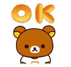 LINE Official Stickers - Rilakkuma: Freshly Baked Fun Example with GIF Animation Ok Gif, Rilakkuma Wallpaper, Alice, Bear Cartoon, Line Friends, Line Sticker, Cute Gif, Disney Villains, Freshly Baked