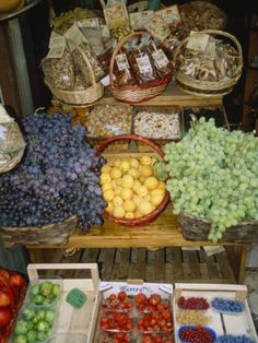Fresh Fruit and Foods for Sale Outside a Market, Siena, Italy