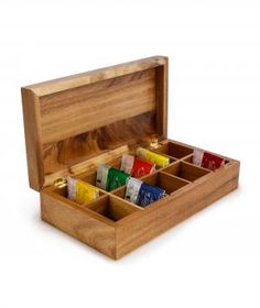 Give the gift of organization. Fill this acacia wood box with assorted tea bags for the recipient to thumb through and find their favorite flavor.