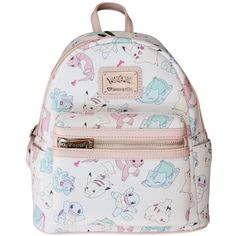 Loungefly Pastel Pink Pokemon Starters Pikachu Fashion Backpack Purse ($56) ❤ liked on Polyvore featuring bags, backpacks, backpack bags, knapsack bag, day pack backpack, loungefly backpack and pastel pink backpack
