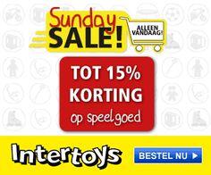 Intertoys korting tot 15% Sunday Sale Bij Intertoys.nl kunt u vandaag profiteren van de Sunday Sale. Dit betekent mooie kortingen tot wel 15% op het gehele assortiment.