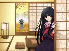 black_hair enma_ai itou_noiji jigoku_shoujo red_eyes seifuku Enma Ai, Hell Girl, Red Eyes, Vocaloid, Background Images, Black Hair, Darth Vader, Cosplay, Manga