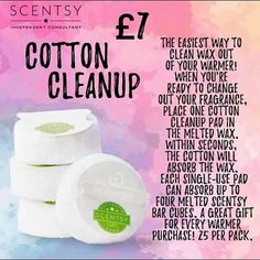 No more waxy fingers - pop a cotton pad into your wax pool and soak it up - take it out and pop in a new cube ! simple as ABC - one pad soaks upto 4 cubes and even better they are in the sale at for 25 ! Scentsy Independent Consultant, Cotton Pads, Clean Up, Wax, Cozy Corner, Cubes, Fragrances, Fingers, Simple