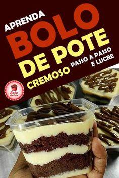 Receitas (ingredientes + recheio) de Bolo de Pote Simples Cremoso Passo a Passo para Vender #receitasdebolodepote #bolodepoteparavender #bolodepotesimples #bolodepotecremoso #bolodepotepassoapasso #bolodepotegourmet #cursobolodepote #recheiogourmet Cake Recipes, Dessert Recipes, Desserts, Cooking Gadgets, Cooking Recipes, Dessert Boxes, Cake In A Jar, House Cake, Food Cravings