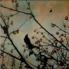 Mixed media encaustic photo painting of crow in branch with berries. Alone yet together. Jeff League