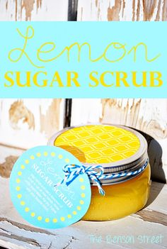 Easy Lemon Sugar Scrub at www.thebensonstreet.com #giftideas #lemon #essentialoils