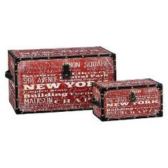 Household Essentials® New York Design Trunks Set of 2 - Red