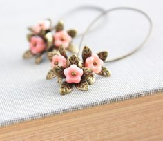 Long+Earrings+Dangle+Earrings+Pink+Peach+Flower+by+apocketofposies,+$23.00