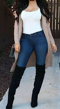Cute Casual Suede Thigh High Boots Outfit Ideas for Women Fall or Winter - Linda. Cute Casual Suede Thigh High Boots Outfit Ideas for Women Fall or Winter – Lindas ideas de ropa de otoño. Cute Fall Outfits, Fall Fashion Outfits, Fall Winter Outfits, Look Fashion, Trendy Outfits, Autumn Fashion, Womens Fashion, Cheap Outfits, Trendy Fashion