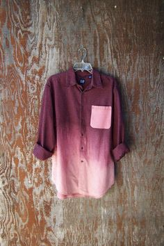 UPCYCLED GAP FLANNEL shirt plaid half bleached dip dye ombre contrast pocket long sleeve maroon red plaid shirt grunge flannel mens large. DIY - pink and blue mens shirt, fitted long sleeve shirts mens, make your own shirt *sponsored https://www.pinterest.com/shirts_shirt/ https://www.pinterest.com/explore/shirt/ https://www.pinterest.com/shirts_shirt/casual-shirts-for-men/ http://store.americanapparel.net/men-s-shirts_cat33240