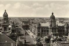 Old pic of Durban city Durban South Africa, Kwazulu Natal, African History, Historical Society, Chiang Mai, Beach Fun, Historical Photos, East Coast, Vintage Photos