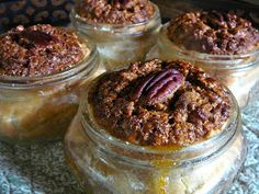 Pecan Pies Baked in half pint Mason Jars.    Today is BINGE day on the diet I started a week ago. I can tell you I haven't cheated a bit a...