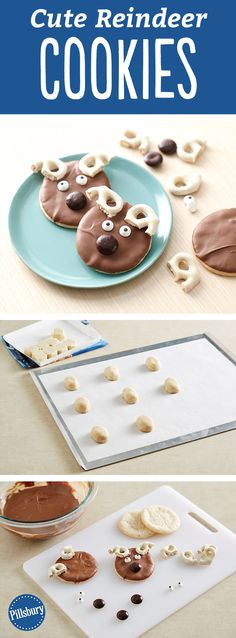 These Reindeer Cookie are super cute for Christmas! The whole family will have fun decorating this simple holiday dessert during the holidays. Perfect for if you are hosting a cookie swap, exchange or party.