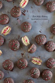 Chocolate Cherry Sandwich Cookies - these no bake cookies are festive and perfect for gift giving.