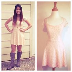 HPPale Peach Stretch Lace Dress Pretty little thing :) worn once. Lined. Forever 21 Dresses