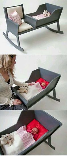 Luxury furniture for the nursery. Stylish baby cot and seat for the babies nursery and bedroom. Baby Gadgets, Fun Gadgets, Everything Baby, Mother And Baby, Baby Furniture, Luxury Furniture, Baby Time, Future Baby, Rocking Chair